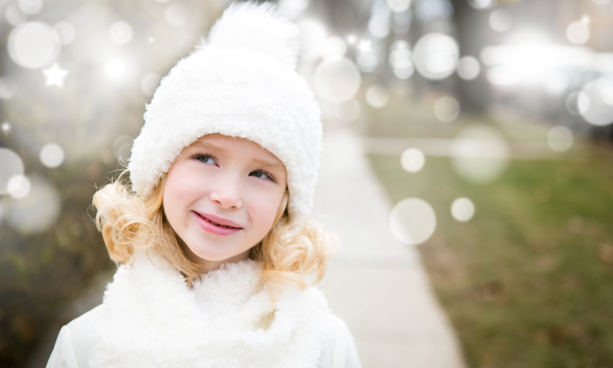 girl blonde snow white pompom hat fluffy chicago