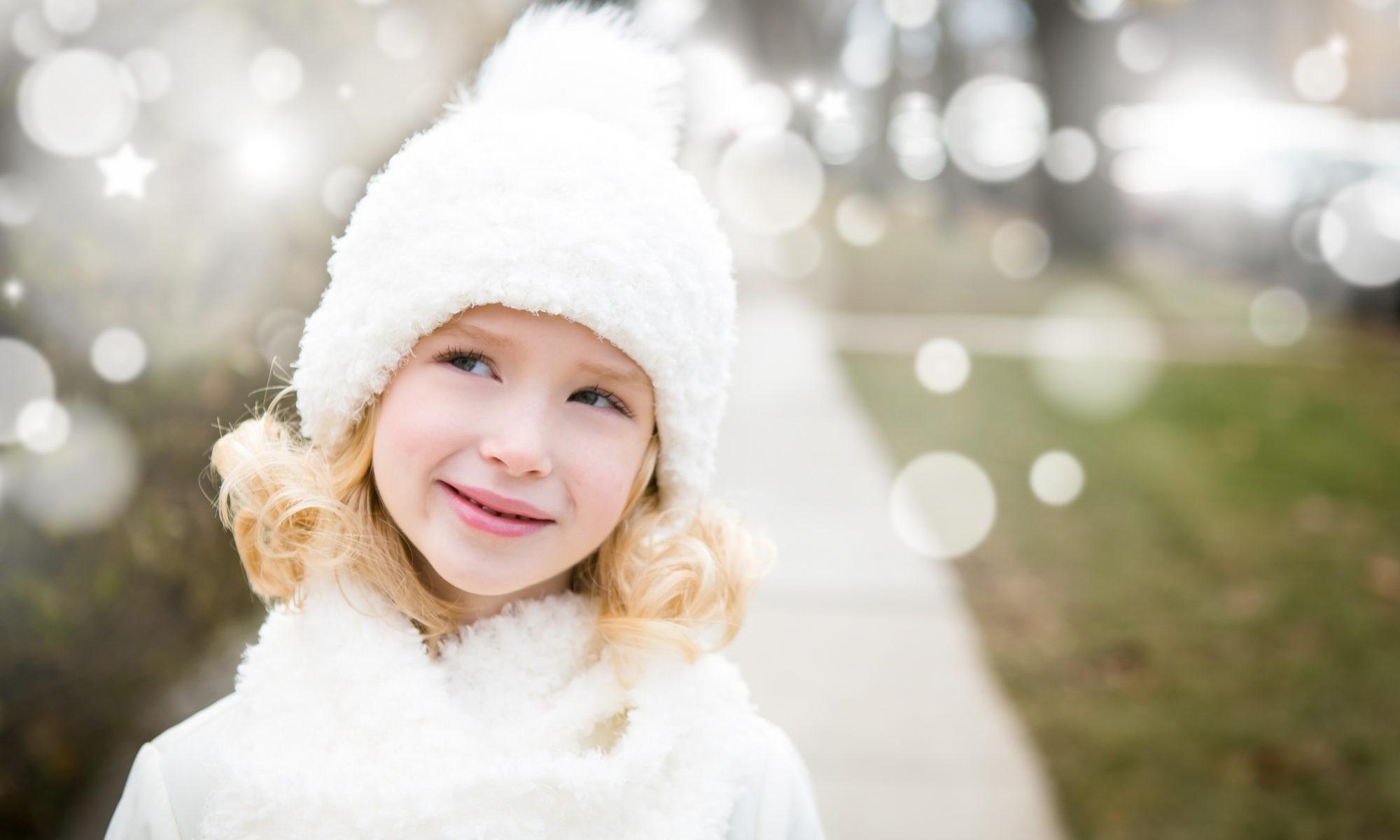 girl blonde snow white pompom hat fluffy chicago